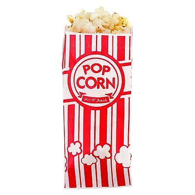 New Carnival King Paper Popcorn Bags 1 Ounce Pack Of 100 Red And White