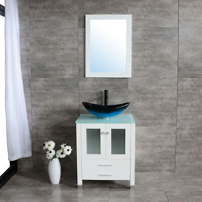 Bathroom Vanity 24inch Single Cabinet Plywood Glass Vessel Sink Drain Combo - Glass Single Vanity Set