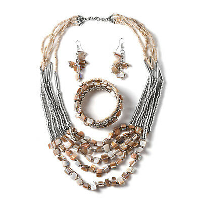 Beige Glass Beads Stainless Steel Earrings, Bracelet and Necklace Set for Women