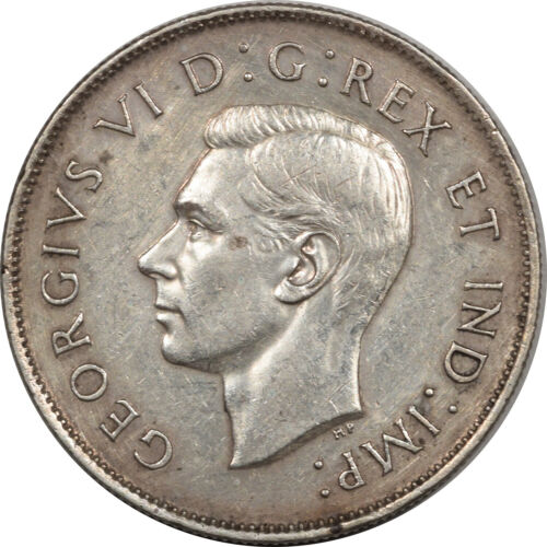 1945 CANADA 50 CENTS SILVER KM-36, ABOUT UNCIRCULATED