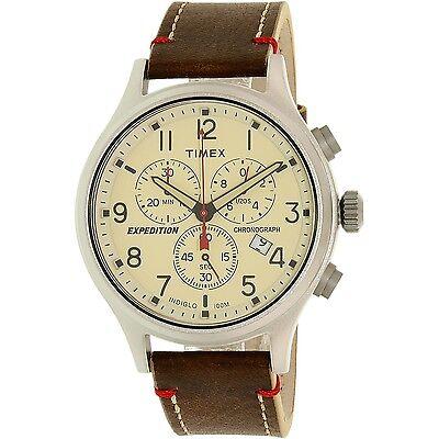 Timex Mens Expedition Tw4b04300 Beige Leather Analog Quartz Dress Watch