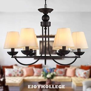 Vintage Industrial Chandelier 6 Light White Shades Ceiling Lamp Dining Room H