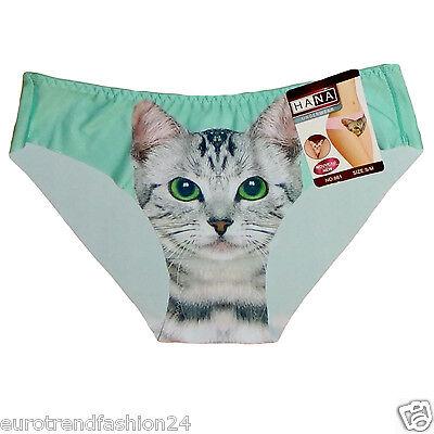 Damen Spaß Lüstige Slips Slip Unterhose Katzen Print Unterwäsche Hipster