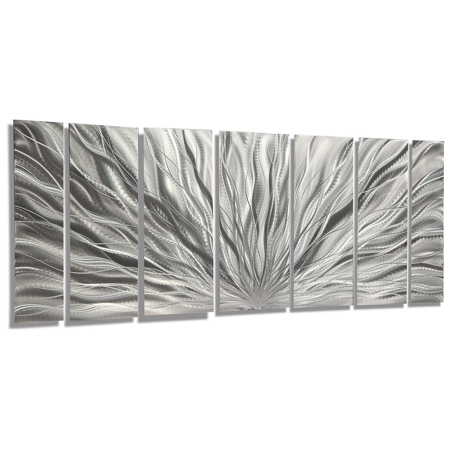 Statements2000 Modern Metal Wall Art Abstract Decor by Jon Allen Silver Plumage