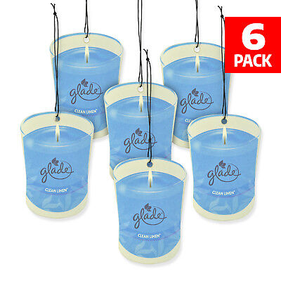 Used, Glade Car Air Freshener 6-Pack Candle Design Glade Air Freshener (Clean Linen) for sale  Bronx