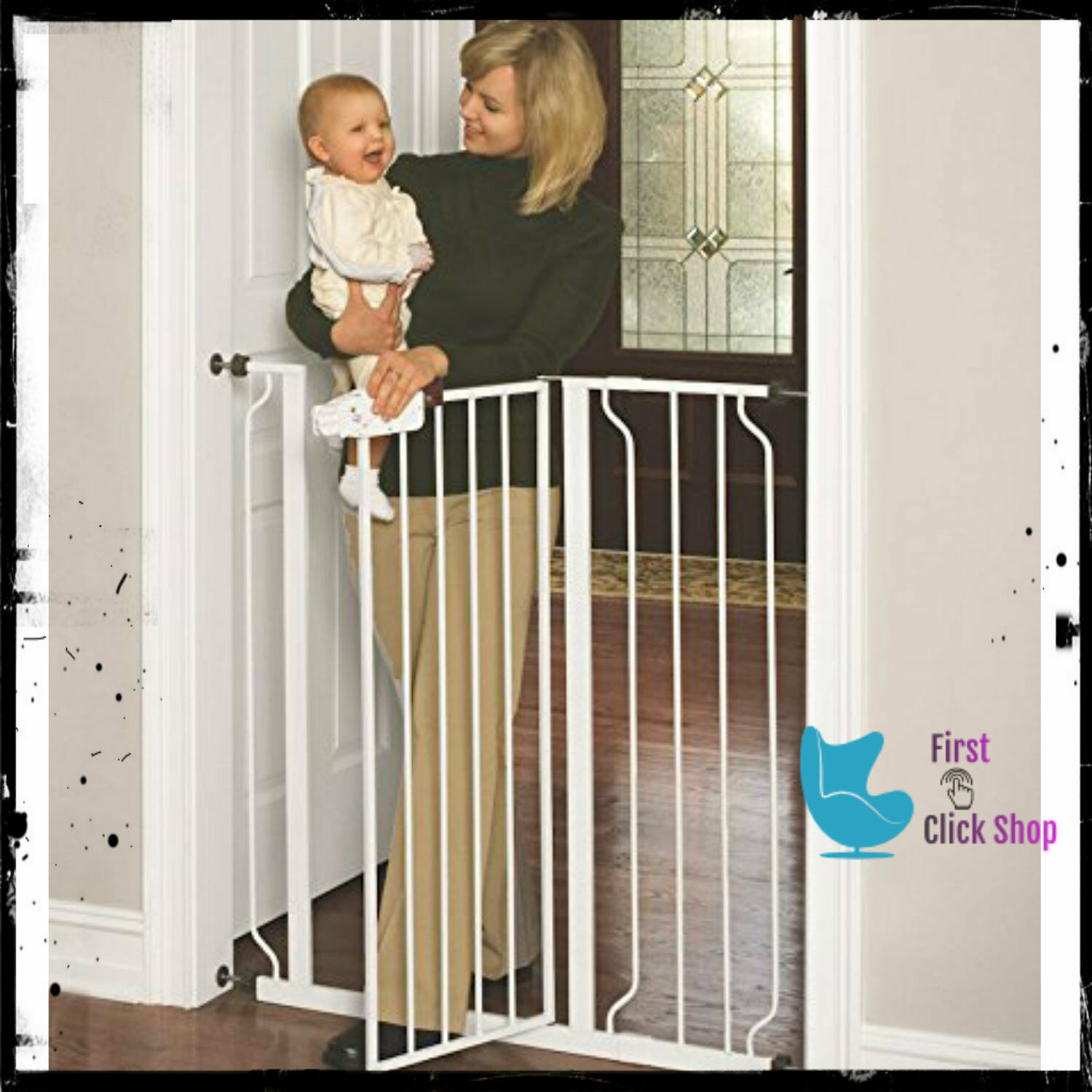 Dog Gate Indoor Tall Pet & Fence Baby Barrier Adjustable Wal