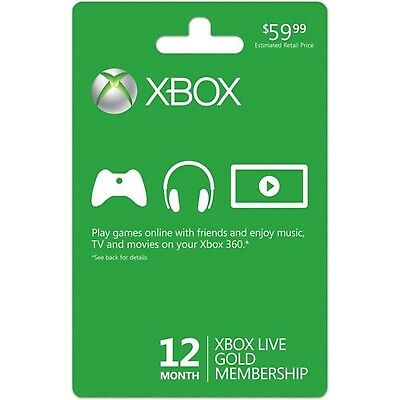 Xbox LIVE 12 Month Gold Membership Card New
