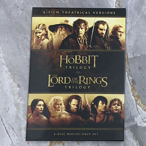 The Hobbit Trilogy and The Lord of The Rings Trilogy (DVD, 6-Disc Set) Brand New
