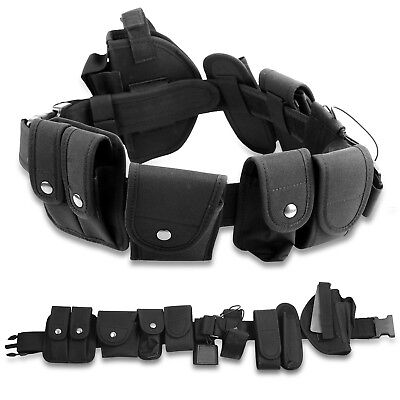 Black Tactical Nylon Policy Security Guard Duty Belt Utility Kit System W Pouch