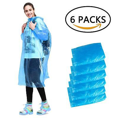 Disposable Rain Poncho, Aival Emergency Waterproof Poncho Raincoat, Hooded for 6