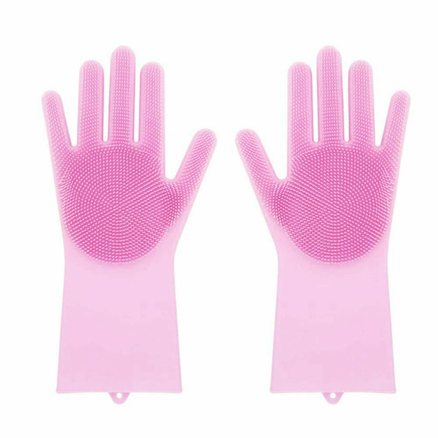 Magic Gloves Dish Washing Silicone Rubber Scrubber Cleaning Pink Color 2 in 1 Cleaning Products