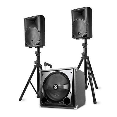 "2.1 Aktiv Lautsprecher Set 800W 12"" Sub 2x8"" Speaker BT USB SD Party DJ Boxen"