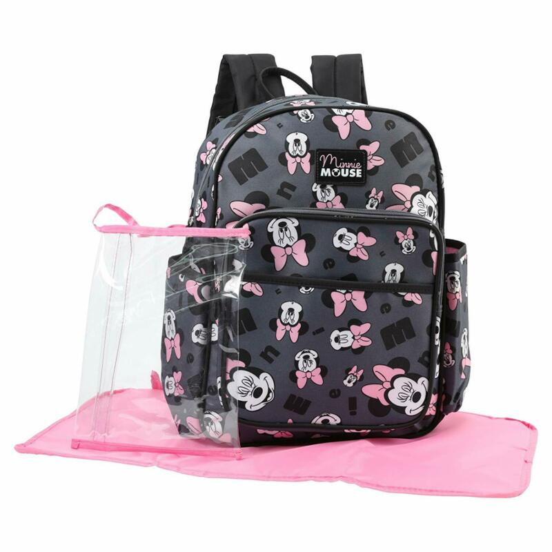 Disney Minnie Mouse Toss Head Print Backpack Diaper Bag, Gre