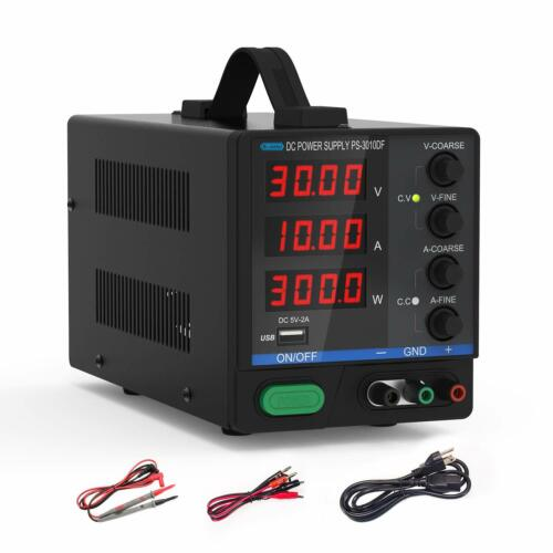 DC Bench Power Supply, 30V/10A Dr.meter Variable 4-Digital LED Display Power