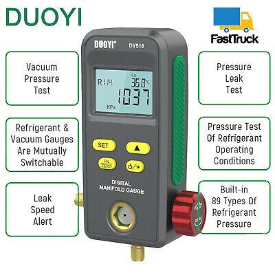 Car Digital Refrigeration Manifold Gauge Hvac Vacuum Pressure Temp Tester Meter