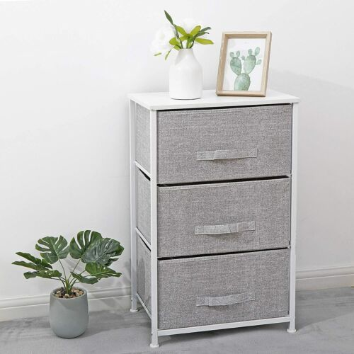 3-Tier Vertical Fabric Dresser Storage Tower with 3 Foldable Easy Pull Drawers Dressers & Chests of Drawers