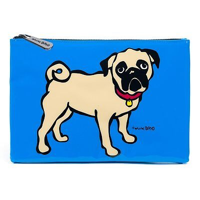 Marc Tetro Pug Pouch PVC Blue - Small Zip Clutch Designer Lined
