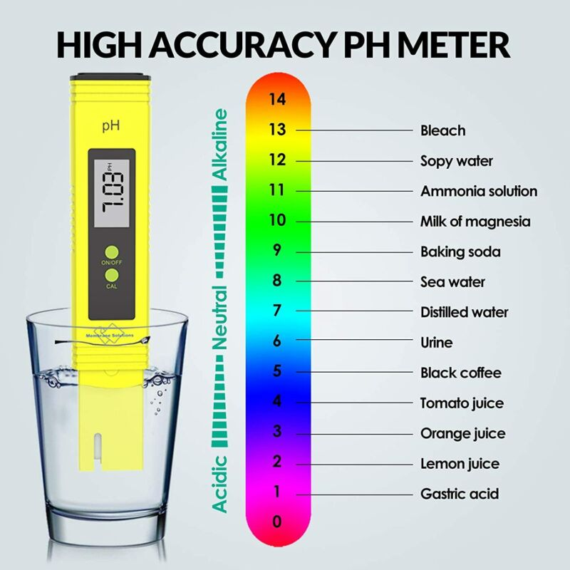 Digital PH Meter Tester Hydroponic Pool Water Aquarium Pocket Portable Wine New