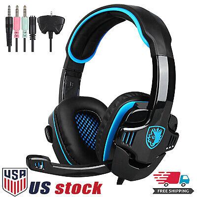 Sades 3.5mm Surround Stereo Gaming LOL Headset Headband Headphone PC w/ Mic PS4