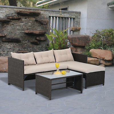 3PC Patio Rattan Wicker Sofa Set Cushined Divan Furniture Outdoor Garden