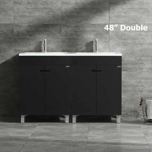 """48"""" Modern Bathroom Vanity Cabinet Double Sink with Faucet Combo Black MDF Wood"""