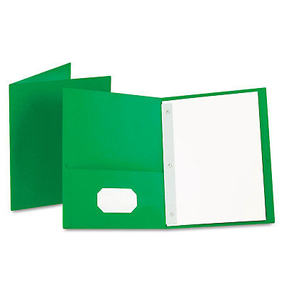 Oxford Twin-pocket Folders With 3 Fasteners Letter 12 Capacity Green 25box