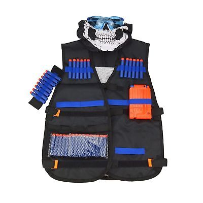 All in One Nerf Tactical Vest Kit Guns War Game With Foam Darts Mask and Glasses - Nerf Guns Games