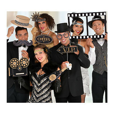Hollywood Glitz & Glam Black & Gold Photo Booth Photo Props Movie Party Ideas