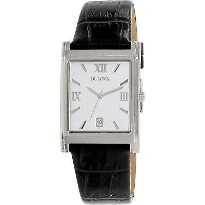 Bulova Men's Quartz Calendar Date Indicator Black Leather 29x41mm Watch 96B107