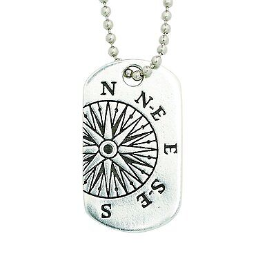 I KNOW THE PLANS Compass Pewter Dog Tag Necklace on 24