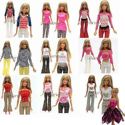 5 Sets Handmade Blouse with Trousers Pants for Barbie Doll Barbie Clothes Xma...