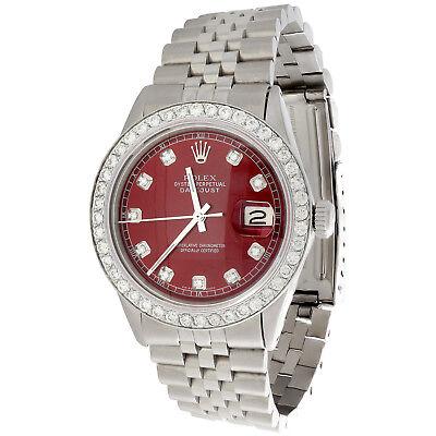 Mens Rolex 36mm DateJust Diamond Watch Jubilee Steel Band Custom Red Dial 2 CT.