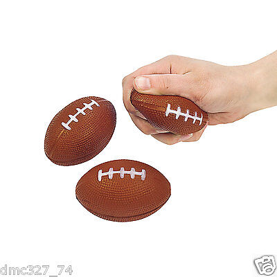 12 FOOTBALL Superbowl Party Favors Foam Relaxable Football Shaped STRESS BALLS - Superbowl Party Favors
