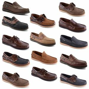 Mens-Leather-Nubuck-Slip-On-Lace-Up-Deck-Boat-Moccasin-Gents-Shoes-Size-UK-7-12