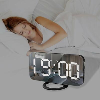 Alarm Clock Large Digital LED Display Portable Modern USB Charge Snooze Mirror