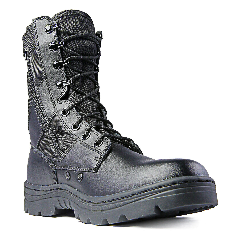 "Ridge Footwear Men's Dura-Max 8"" Side Zipper Black Leather Tactical Boots"