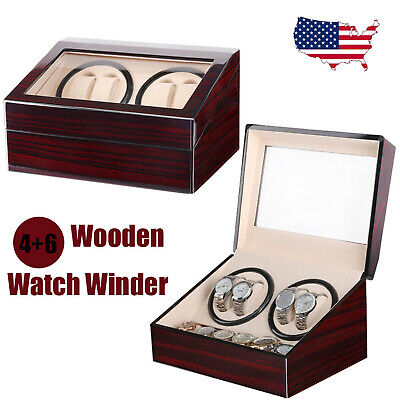 4+6 Slot Automatic Rotation Leather Wood Watch Winder Storage Display Case Box