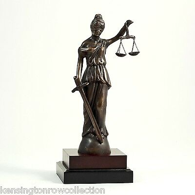 FIGURINES - BLINDFOLDED LADY JUSTICE SCULPTURE ON WOOD BASE - LAWYERS & LEGAL