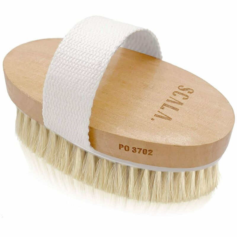 Wet and Dry Body Exfoliating Brush, Large Horse Hair Soft Bristle Brush