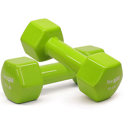 Yes4All Dumbbells PVC Hand Weights 11 lbs Set Dumbbell Exercise - ²3