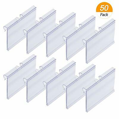 Meetory 50 PCS Clear Plastic Label Holders for Wire Shelf Retail Price -