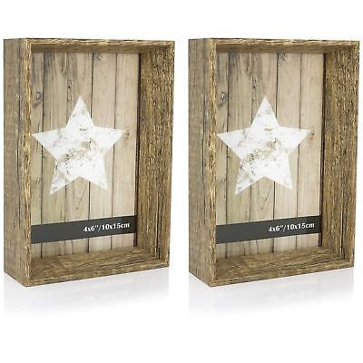 2x 3D Bilderrahmen im rustikalen Design (Holz) 10x15, Glasscheibe, 16 x 11 x 4cm