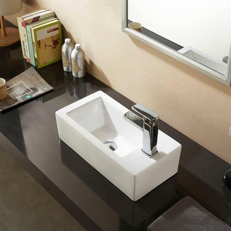 Ceramic Vessel Sink Combo Bathroom Basin Bowl w/ Faucet Pop-up Drain White