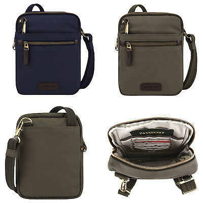 TRAVELON COURIER COLLECTION ANTI-THEFT RFID SAFE SMALL N/S SLIM CROSSBODY BAG