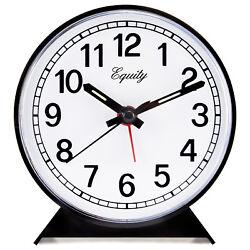 14075 Equity by La Crosse Key Wind Analog Quartz Alarm Clock - Black