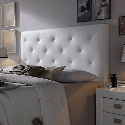 Cabecero cama matrimonio cabezal tapizado ROMBO 160x115 Blanco Polipiel.