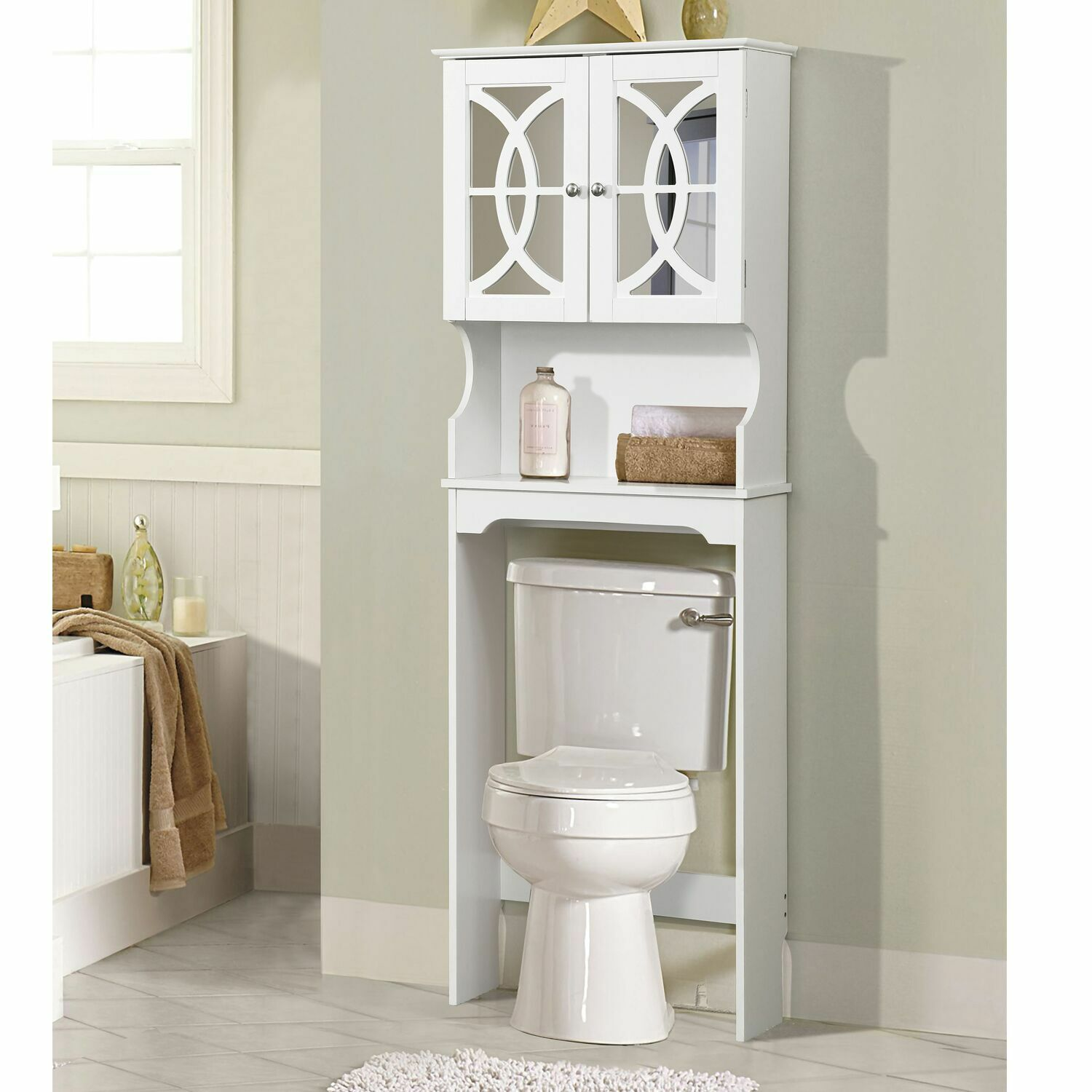 Bathroom Space Saver Cabinet Over The Toilet White Wood Storage Doors Shelf