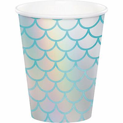8 x Mermaid Shine Party Paper Cups Iridescent Finish Mermaid Party Supplies