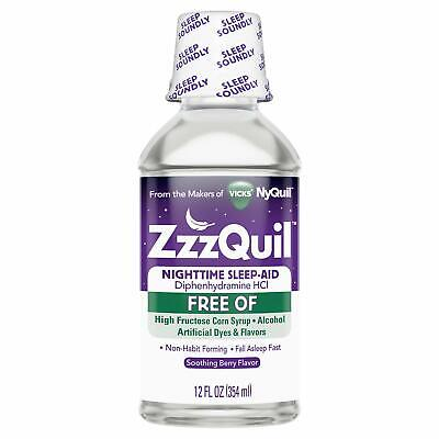 ZzzQuil Alcohol Free Nighttime Sleep Aid, Soothing Mango Berry 12 oz (Pack of 2)