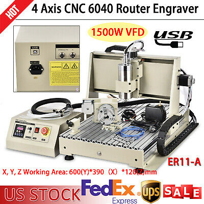 1.5kw 4 Axis Usb Cnc 6040 Router Engraver Milling Drilling Machine Diy 3d Cutter